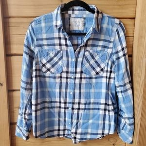Sonoma Blue and White Plaid Button Up Shirt